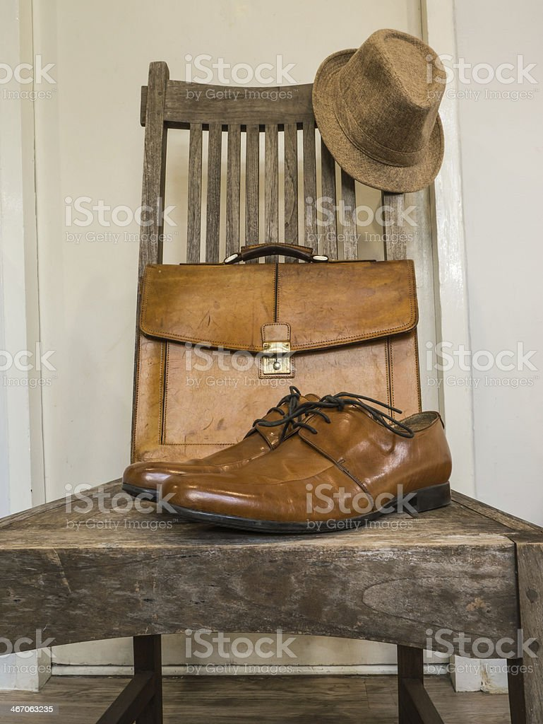 Vintage male leather bag and shoes. stock photo