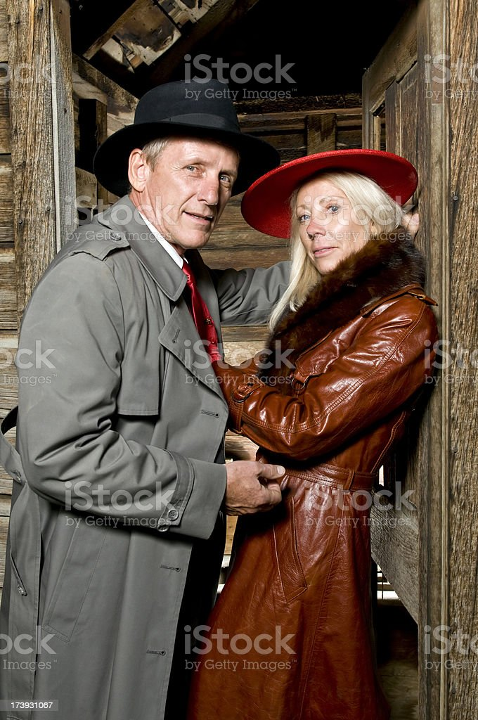 Vintage man and woman stock photo