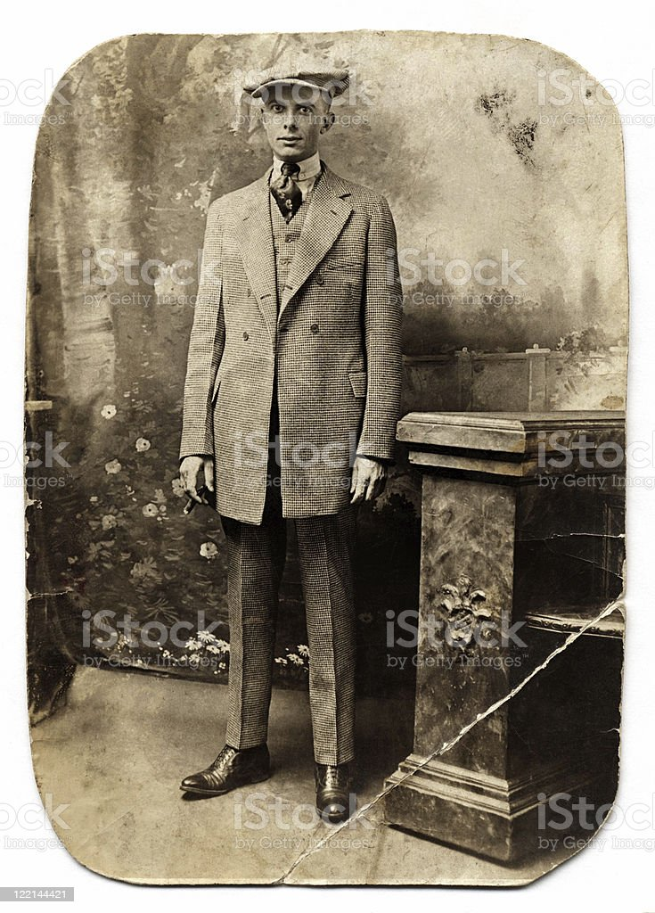 Vintage Man in Checked Suit royalty-free stock photo
