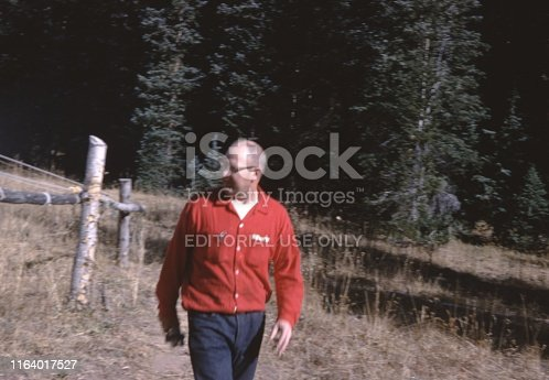 United States - January 01, 1965:  Vintage, authentic archival photograph of male hunter in red hunting jacket walking through an outdoors setting in the woods, 1965