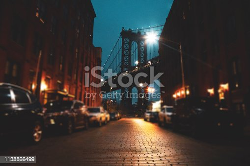 Vintage manhattan bridge in new york