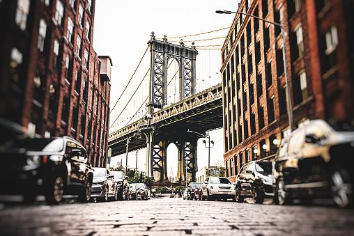 Vintage manhattan bridge in new york