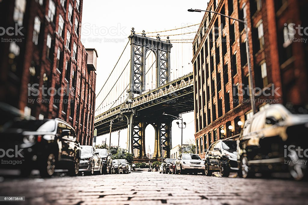 Vintage manhattan bridge in new york stock photo