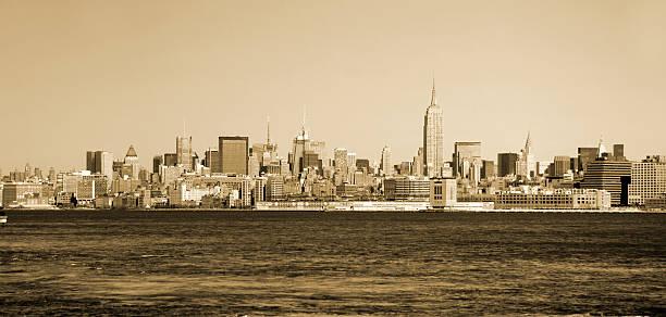 Vintage Manhattan sklyline stock photo