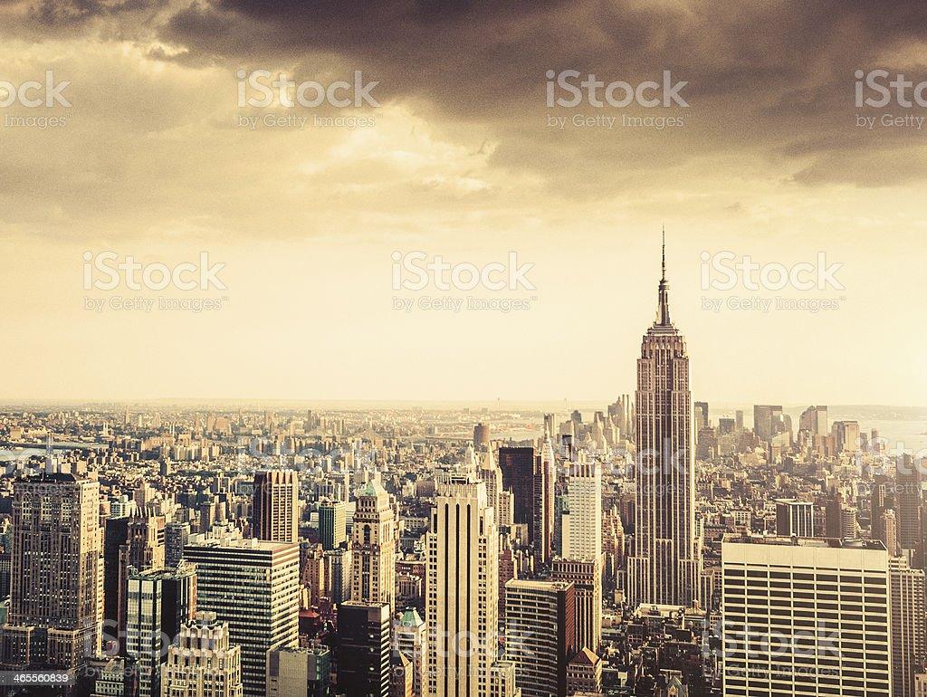 vintage manhattan skyline royalty-free stock photo