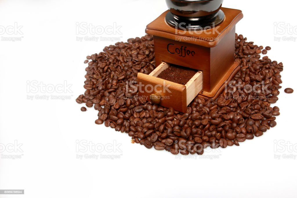 Vintage manual coffee with coffee bean stock photo