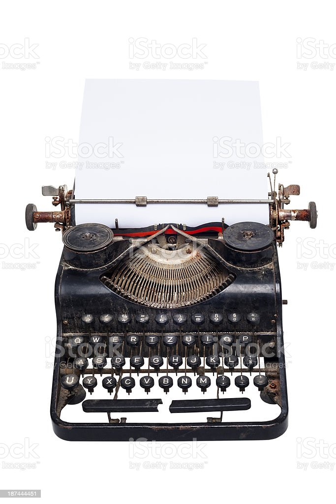 Vintage manual typewriter, dirty and rusty stock photo