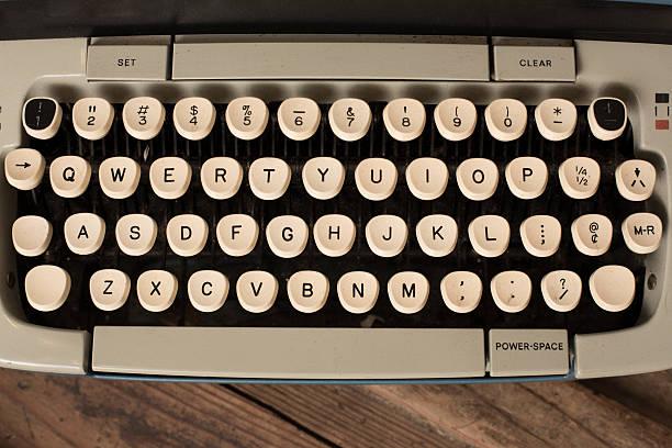 Vintage Manual Typewriter Keys Closeup from Above stock photo