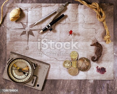 istock Vintage map and accessories 1086794804