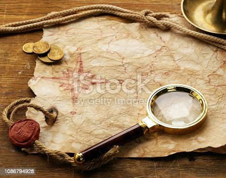 istock Vintage map and accessories 1086794928