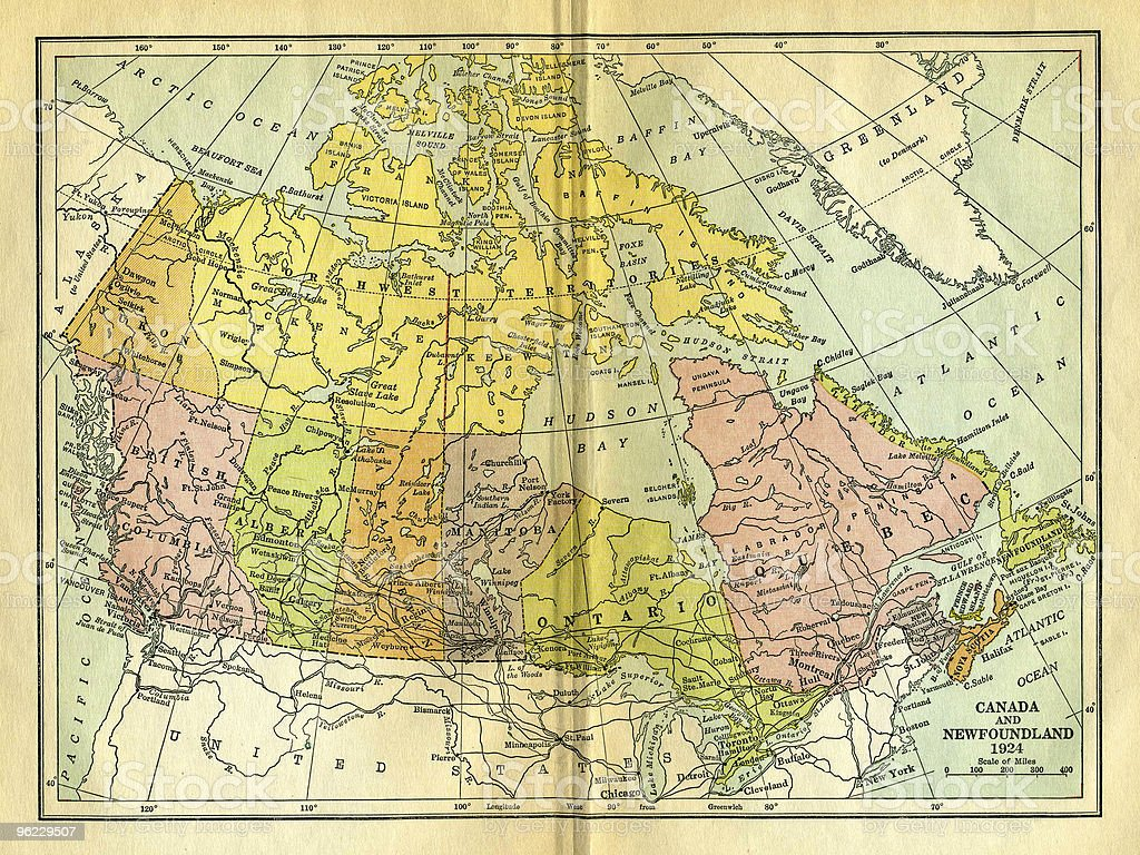 Vintage Map of Canada stock photo