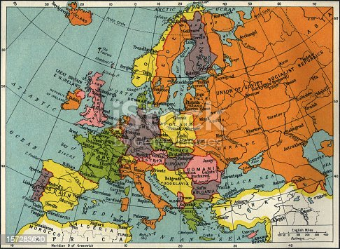 istock Vintage map of Europe and Asia 157283620