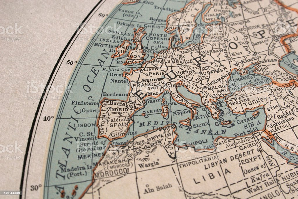 vintage map of Europe royalty-free stock photo