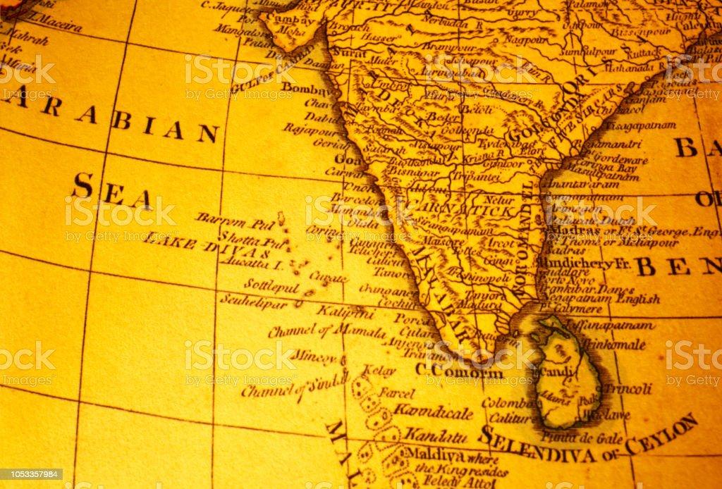 Carte Inde Et Sri Lanka.Photo Libre De Droit De Carte Vintage De Linde Et Sri Lanka