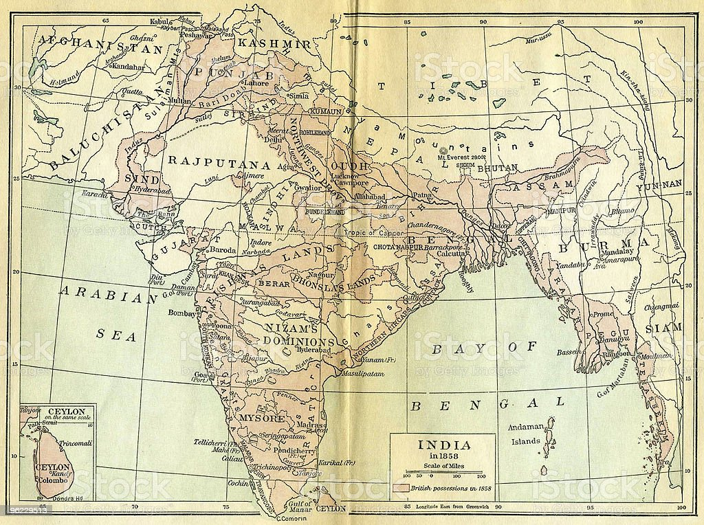 Vintage Map of India stock photo