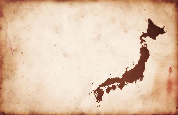 ビンテージマップの日本のアンティーク紙 - 日本 地図 ストックフォトと画像