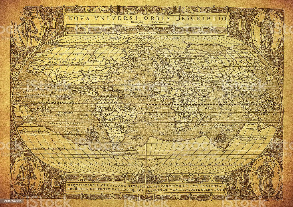 vintage map of the world 1602 stock photo