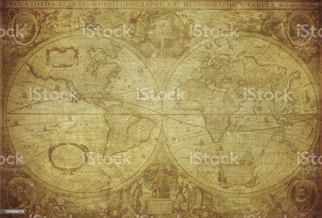 vintage map of the world 1630 stock photo