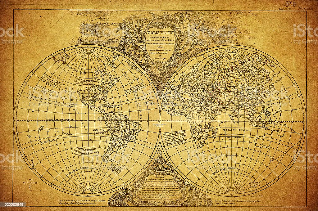 vintage map of the world 1752 stock photo