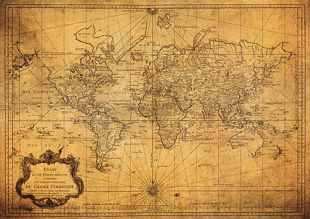 vintage map of the world 1778 - ancient stock photos and pictures