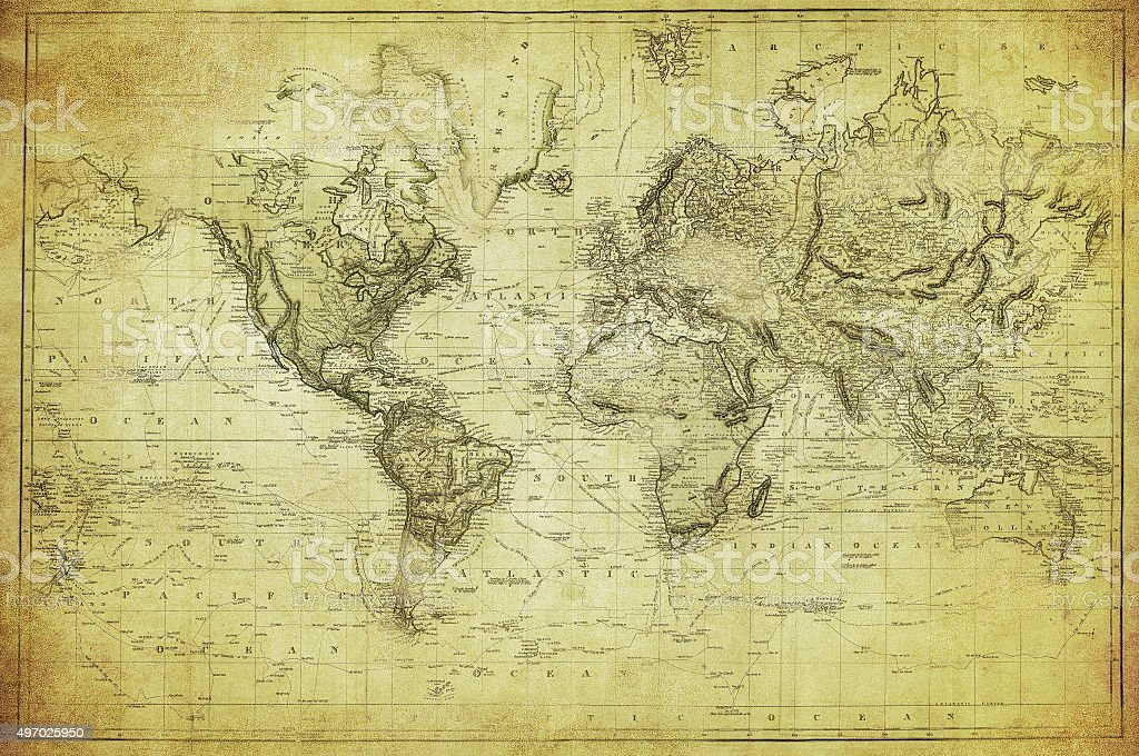 vintage map of the world 1831 stock photo