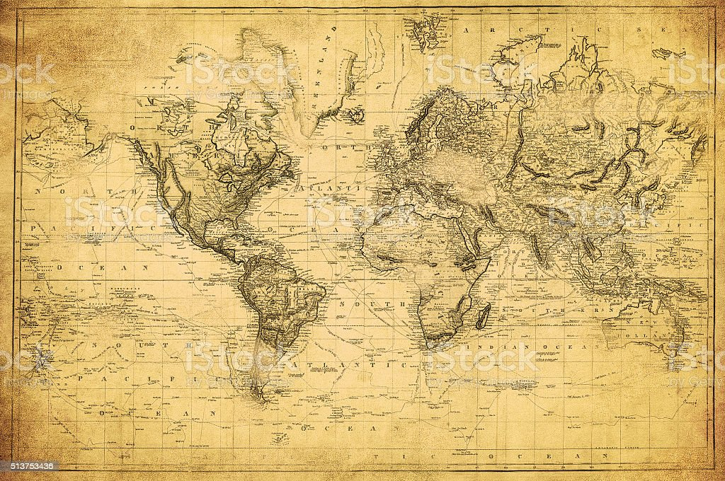Mapa do mundo vintage 1831 - foto de acervo