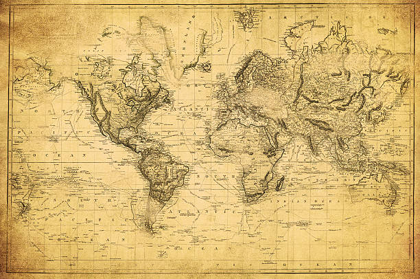 vintage map of the world 1831 - the past stock photos and pictures