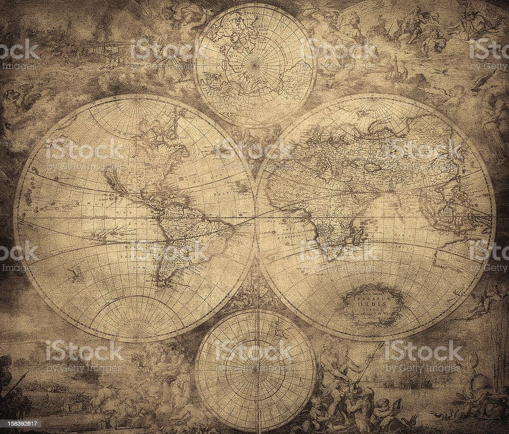vintage map of the world circa 1675-1710 stock photo