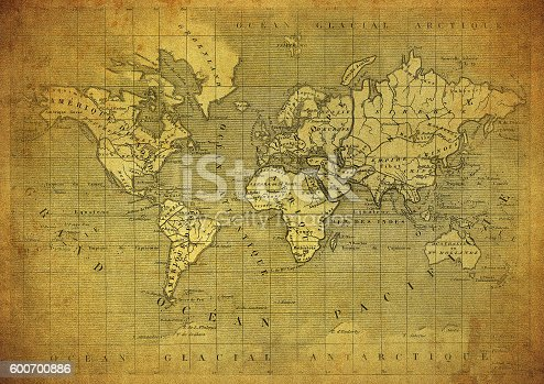 istock vintage map of the world published in 1847 600700886