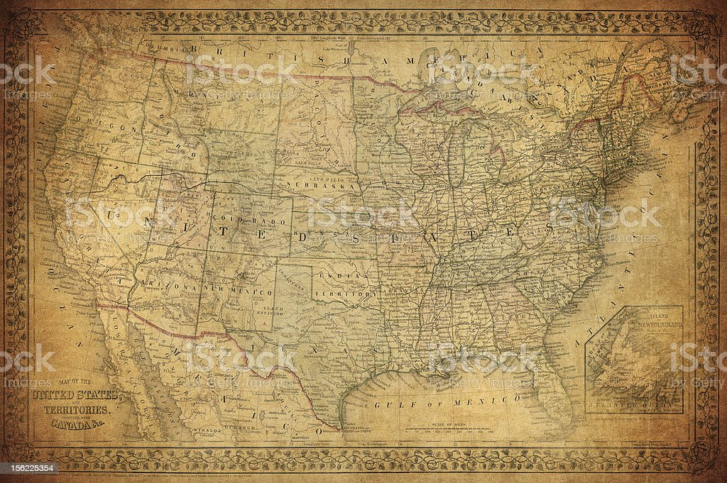 Vintage map of United States 1867 stock photo