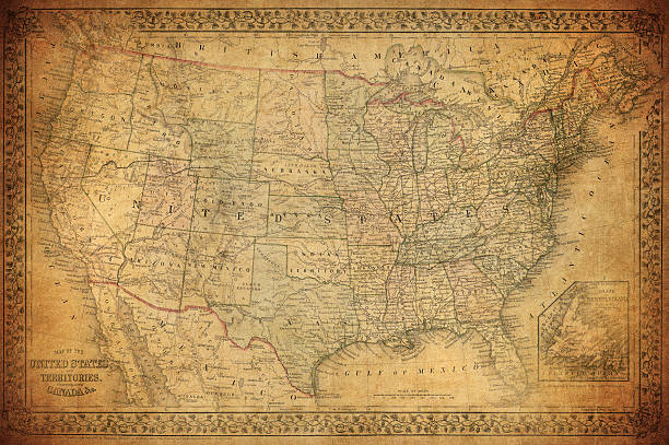 Vintage map of United States 1867 Vintage map of United States 1867 19th century stock pictures, royalty-free photos & images