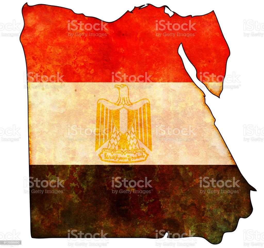mapa de vintage con la bandera de Egipto - foto de stock