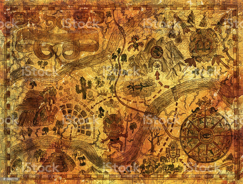 Vintage map with pirate treasures and adventures concept stock photo