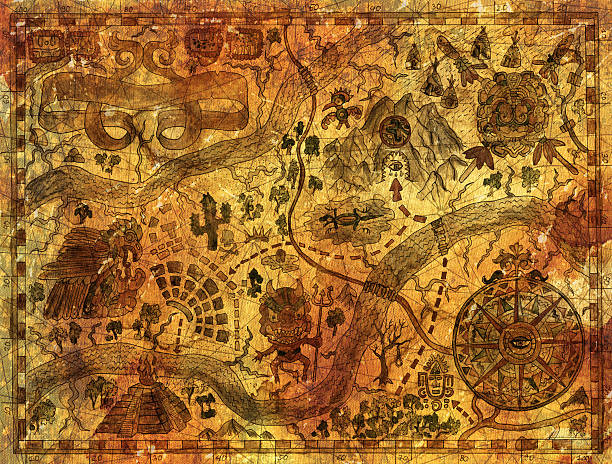 vintage map with pirate treasures and adventures concept - aztekenmuster stock-fotos und bilder