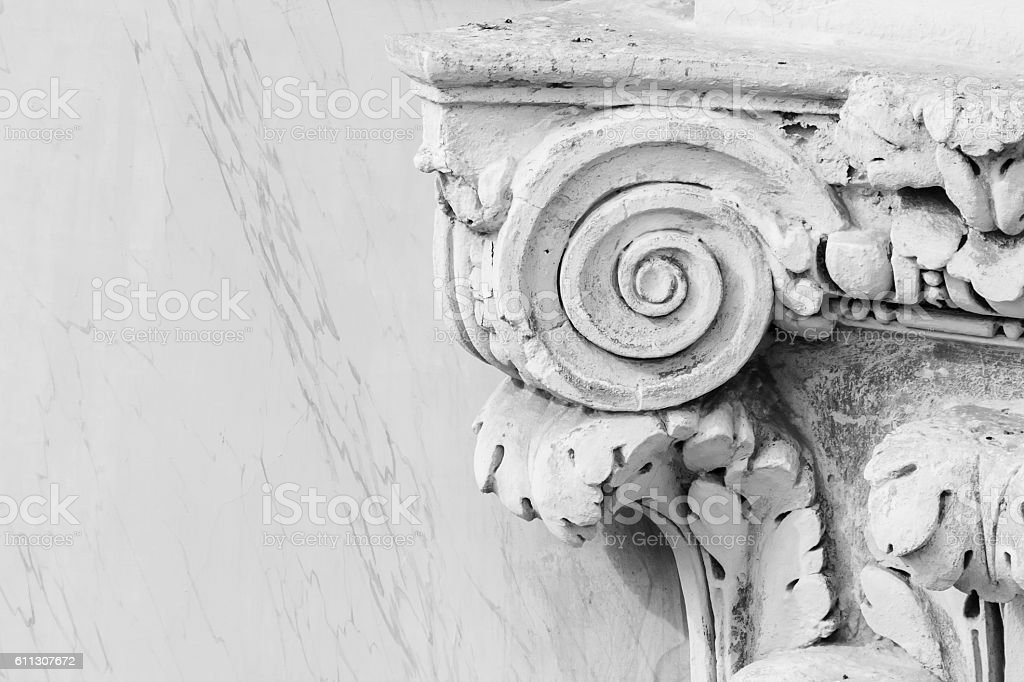 Vintage marble capital stock photo
