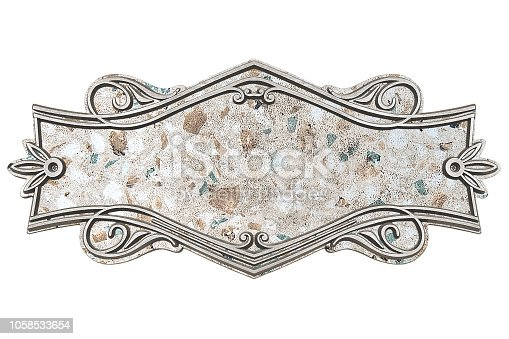 1058533662 istock photo Vintage marble plaque isolated on white background 1058533654