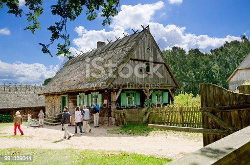 istock Vintage masurian farm from Gazdawa village, Olsztynek, Poland. 991389044
