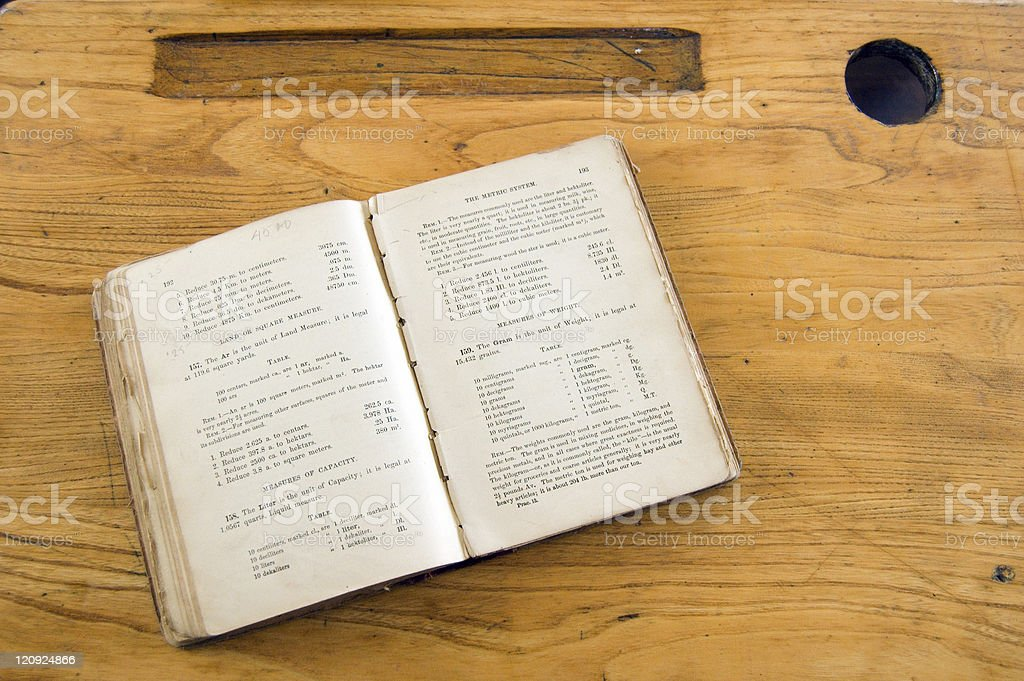 Vintage Math Text Book on desk royalty-free stock photo