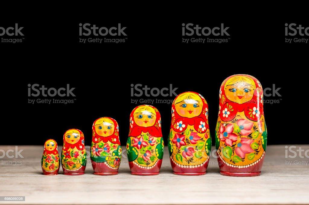 Vintage matryoshka dolls stock photo