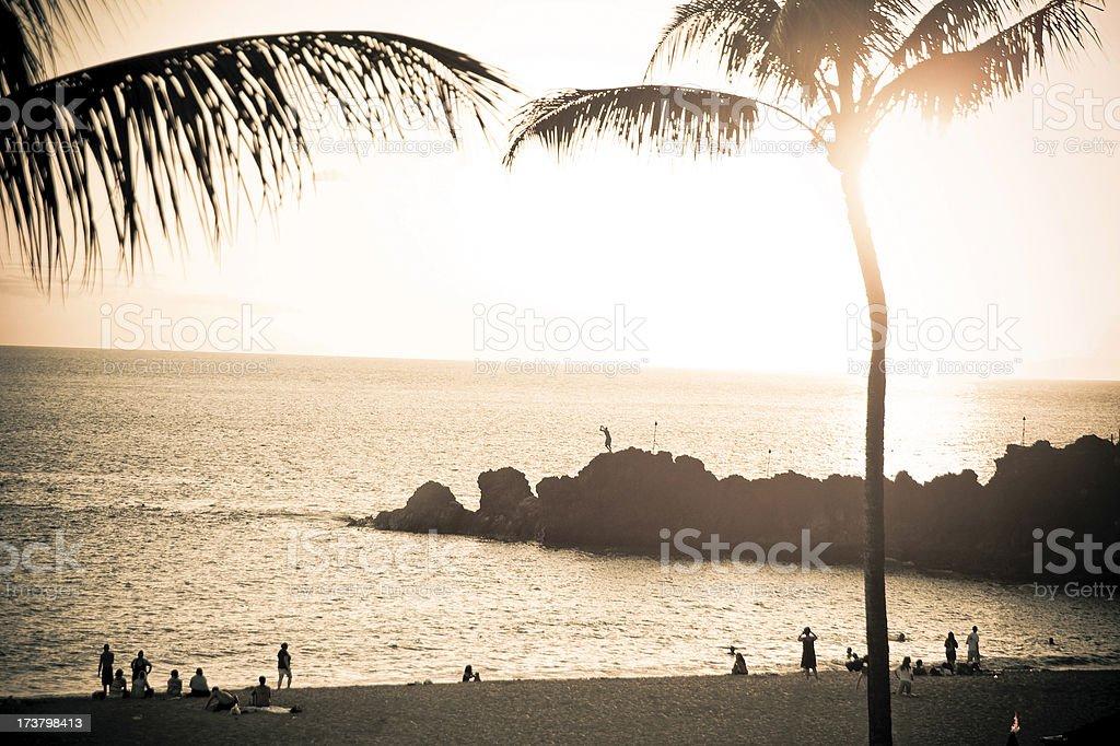Vintage Maui - Sunset stock photo