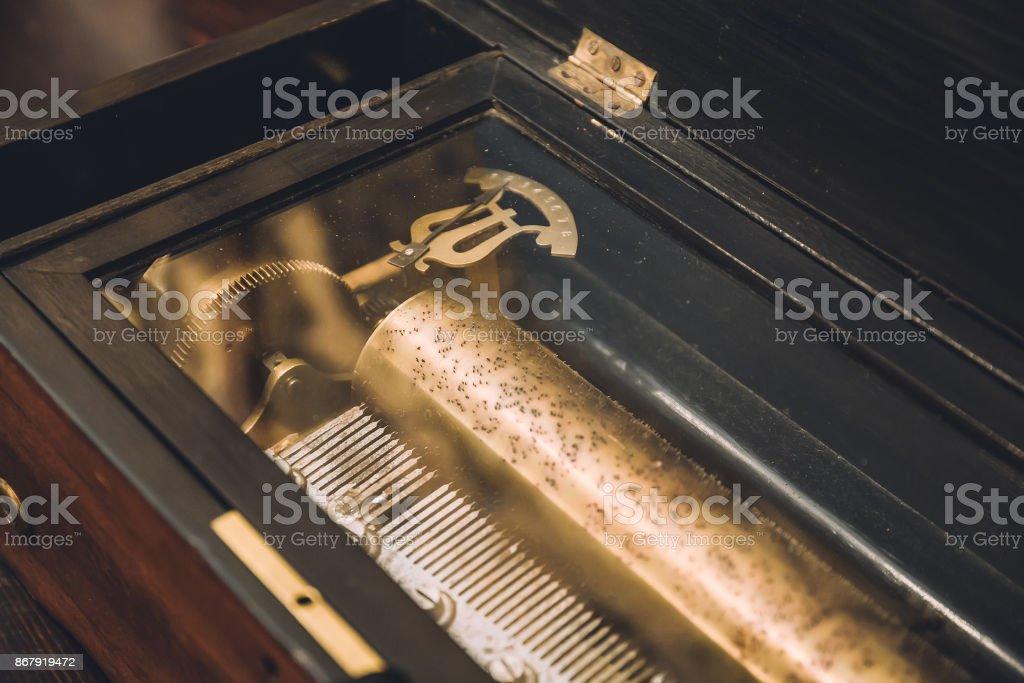 Vintage mechanical music box stock photo