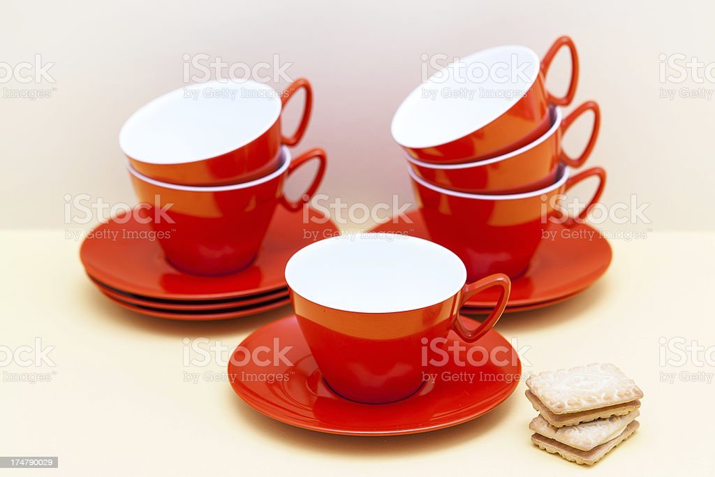 Vintage melamine Orange cups and saucer 1960s royalty-free stock photo