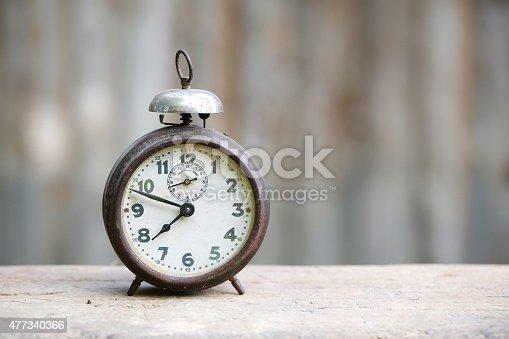 istock Vintage metal analog alarm clock 477340366