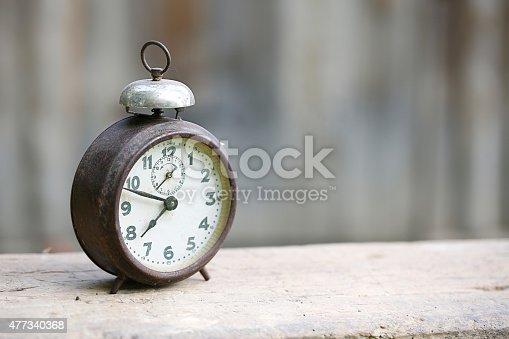 istock Vintage metal analog alarm clock 477340368