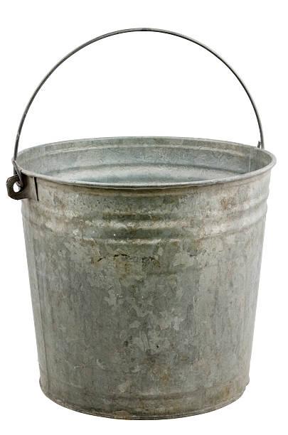 Vintage metal bucket isolated on white stock photo