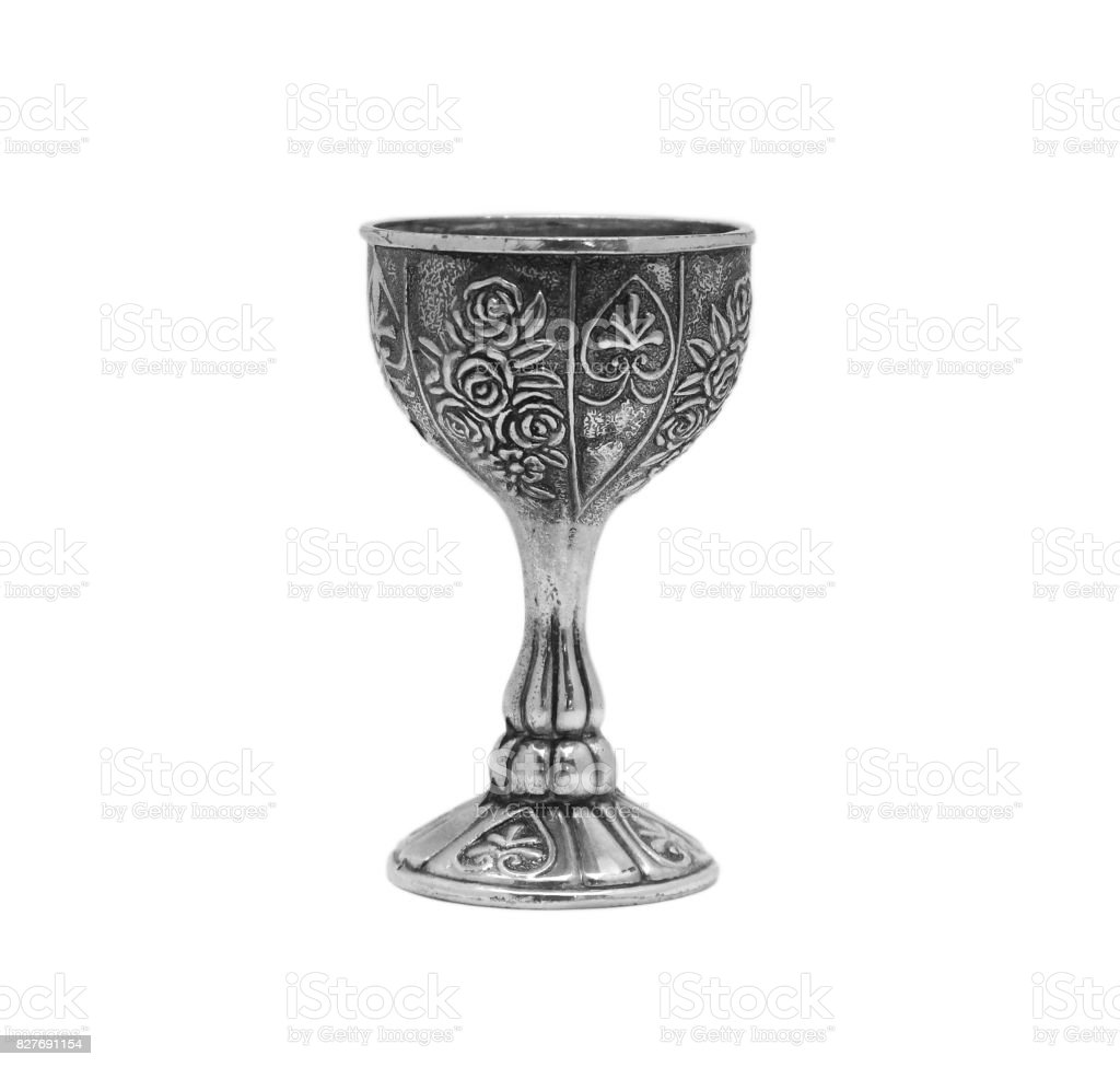 vintage metal Cup with flower pattern stock photo