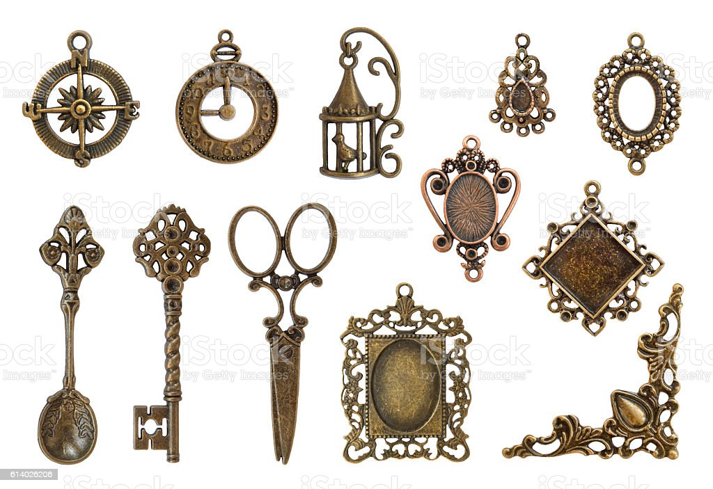 Vintage metal frames and elements stock photo