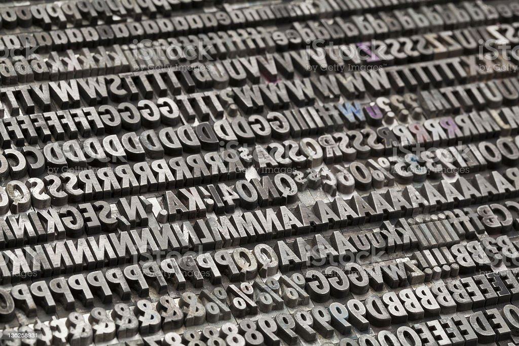 vintage metal letters and numbers stock photo