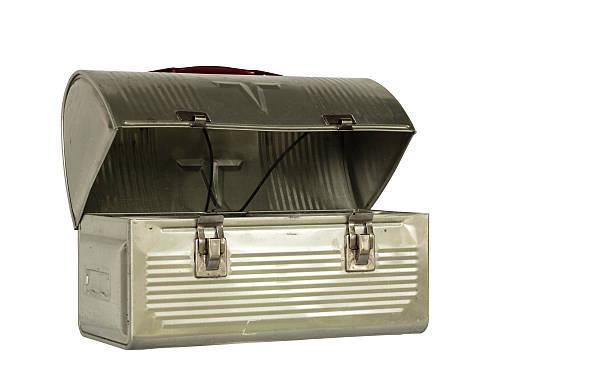 vintage metal lunchbox stock photo