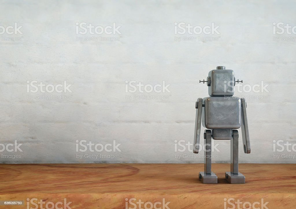 Vintage metal robot toy. stock photo